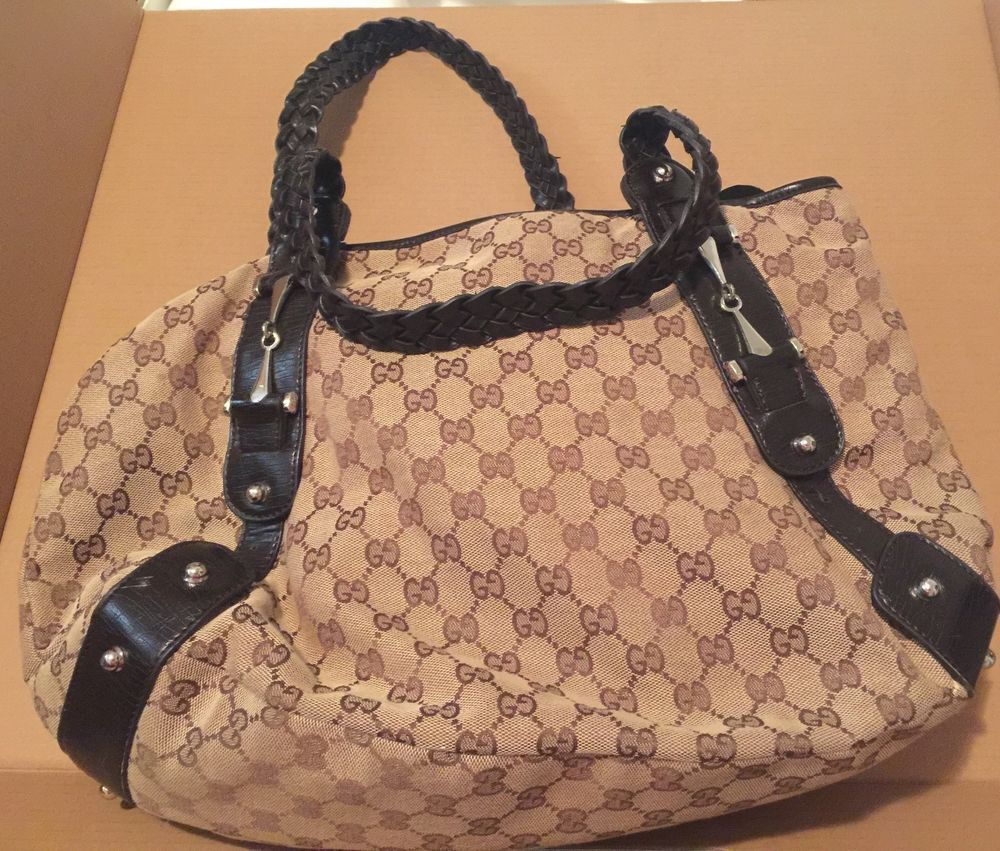 b0fb25059a5 GUCCI Pelham Horsebit GG Guccissima   Leather w  Braided Brown Straps  Handbag