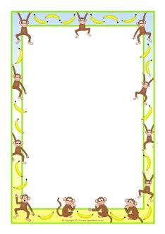 monkeys and bananas a4 page borders sb8473 sparklebox papier lettre imprimer. Black Bedroom Furniture Sets. Home Design Ideas