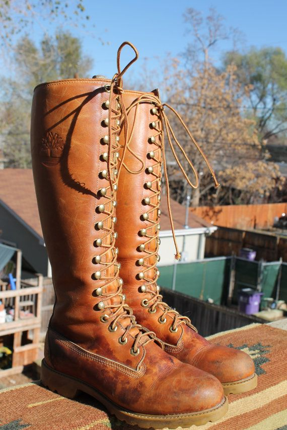 vtg leather tall lacer timberland 18 hole boots womens 7  by Taite, $65.00
