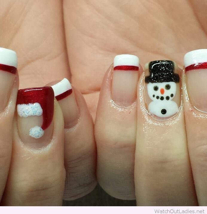 Christmas nails with Santa and snowmen | watchoutladies.net ...