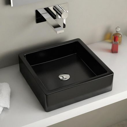 Vasque A Poser Carree Noire 40x40 Cm Ceramique Pure Vasque A Poser Vasque Vasque A Encastrer
