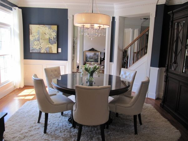 Navy Brown And Off White Contemporary Dining Room Cottage Dining Rooms Dining Room Blue Black Dining Room
