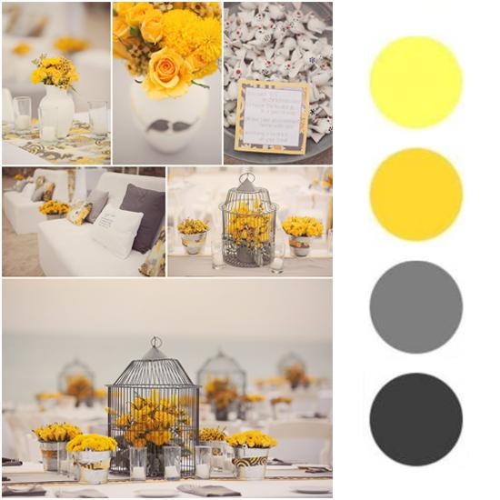 decoração de casamento cinza com amarelo - Pesquisa Google