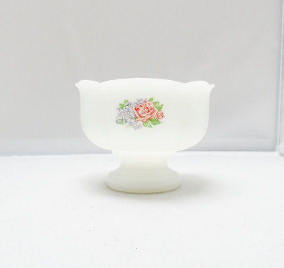 Vintage Milk Glass Vase Avon Pink Rose Trinket by 2sweet4wordsHome, $10.00