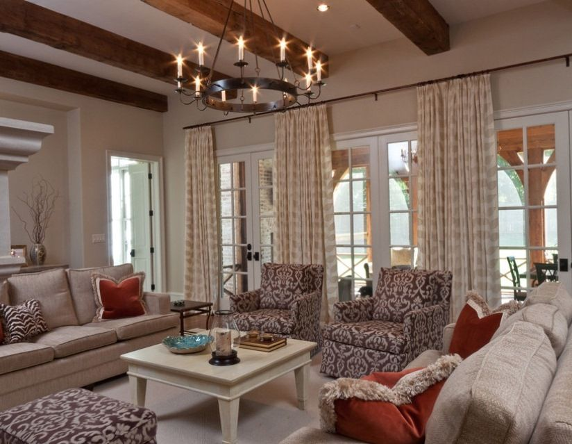 Vintage Chandelier Puts Crowning Touch on Soothing Living Room ...
