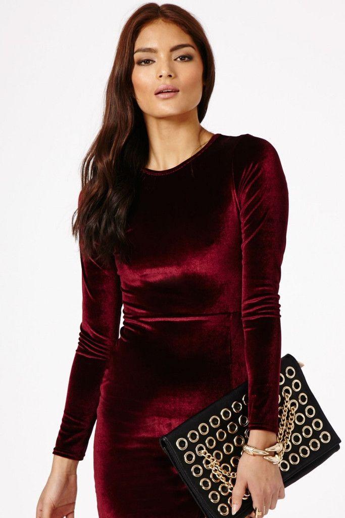 Long Sleeve Velvet Dress In Red Kleidung Samtkleid Modestil