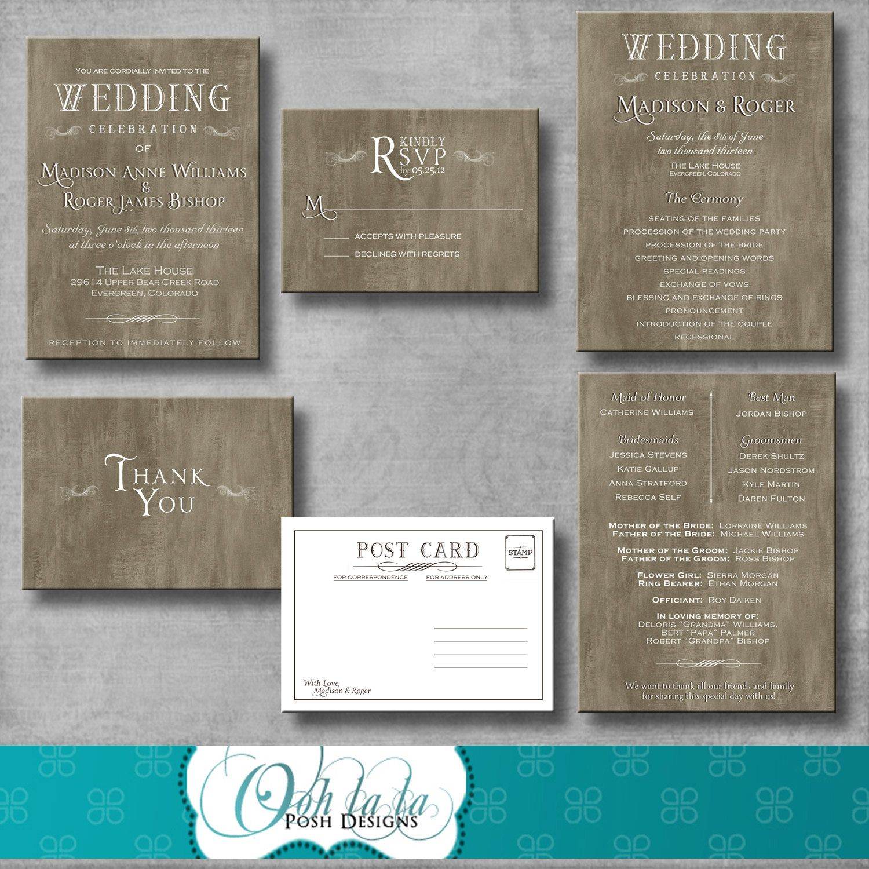 Rustic Elegant Wedding Invitation Response by OohlalaPoshDesigns ...