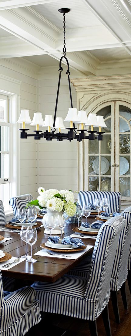 Like The Blue And White Striped Chairs