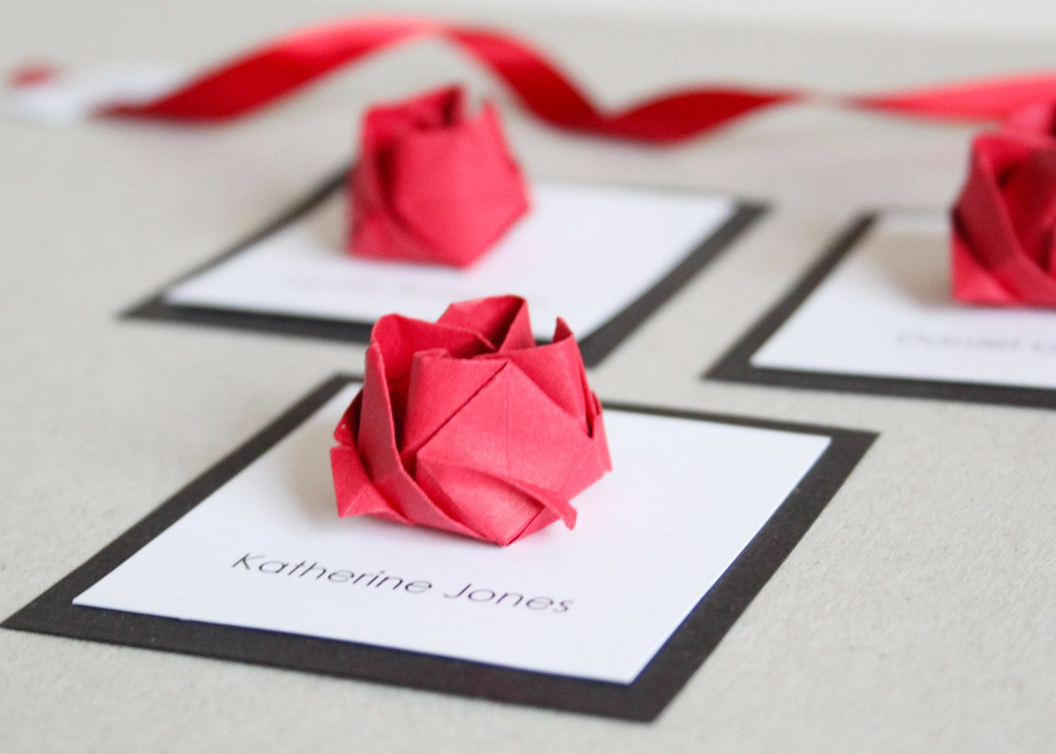 Wedding origami rose square place cards x 50 via for Paper rose origami