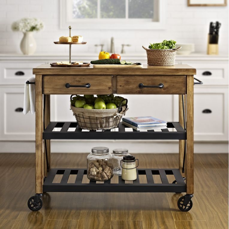 Vintage Kitchen Island Modern Cart Reclaimed Wood Top Utility Bar Style  Counter