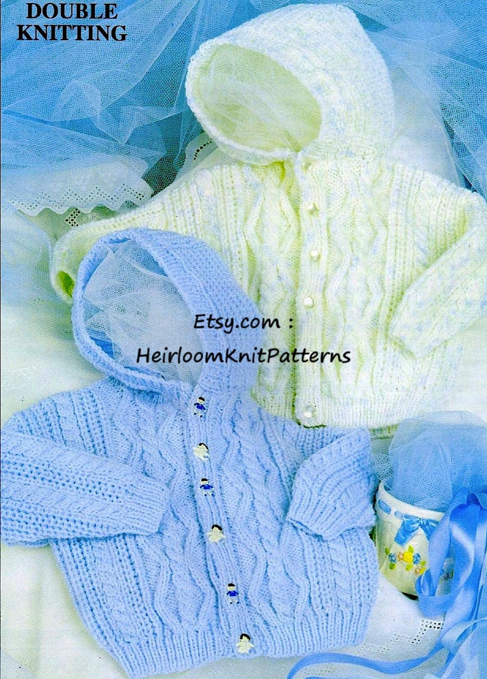 Baby Hooded Cable Jacket Vintage Knitting Pattern PDF Baby Toddler Child Boy Girl DK 8ply Knitting Pattern 18-24'' Instant Download PDF- 422