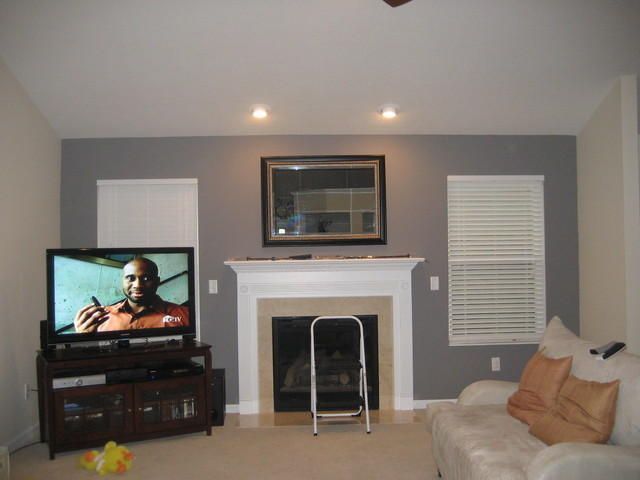 Hereu0027s Our Living Room Layout. Big TV And Stand In Corner Window Behind.  Oak · Paint Color SchemesGray ...