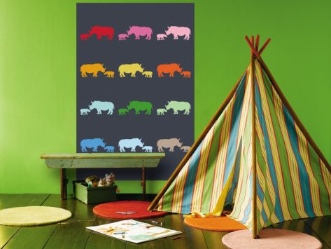 Blue Rainbow Rhinos Wall Mural at Art.com