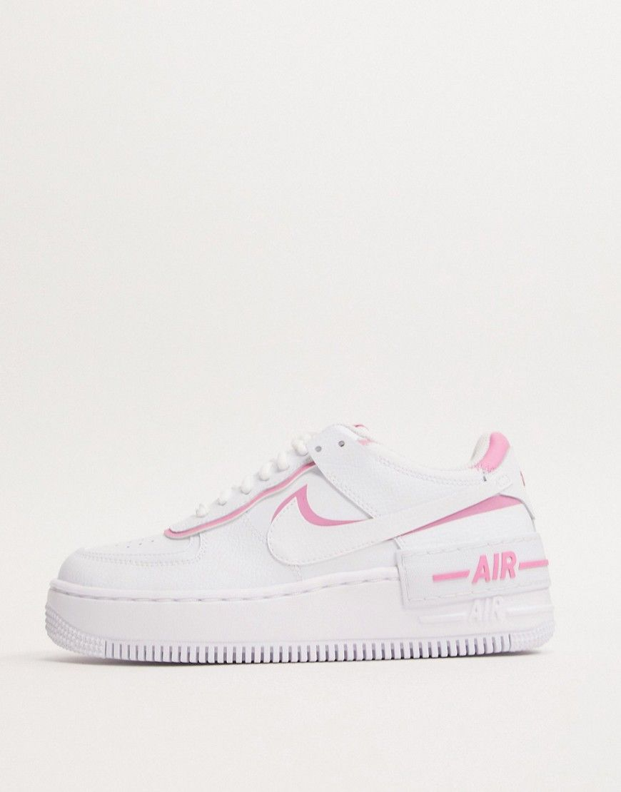 Nike Air Force 1 Shadow White And Pink Sneakers In 2020 Nike Air Shoes Pink Nike Shoes Pink Sneakers