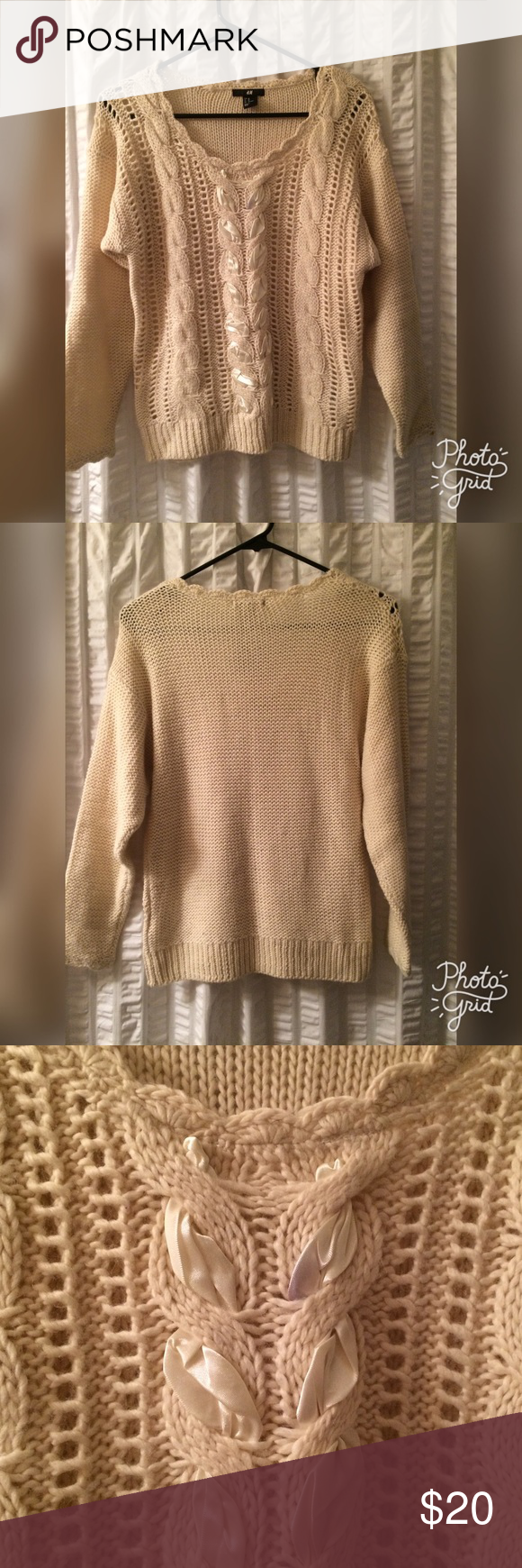 Cream color H&M sweater with ribbon detail Only worn a few times! H&M sweater has cable knit and ribbon detail. Great for chilly nights or the holiday season! Please don't hesitate to ask questions or make an offer, prices are not firm! Happy Poshing! H&M Sweaters Crew & Scoop Necks