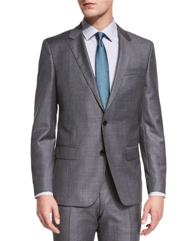 Pict j ferrar modern fit 1 - Huge Genius Slim Fit Basic Sharkskin Suit Gray Teal