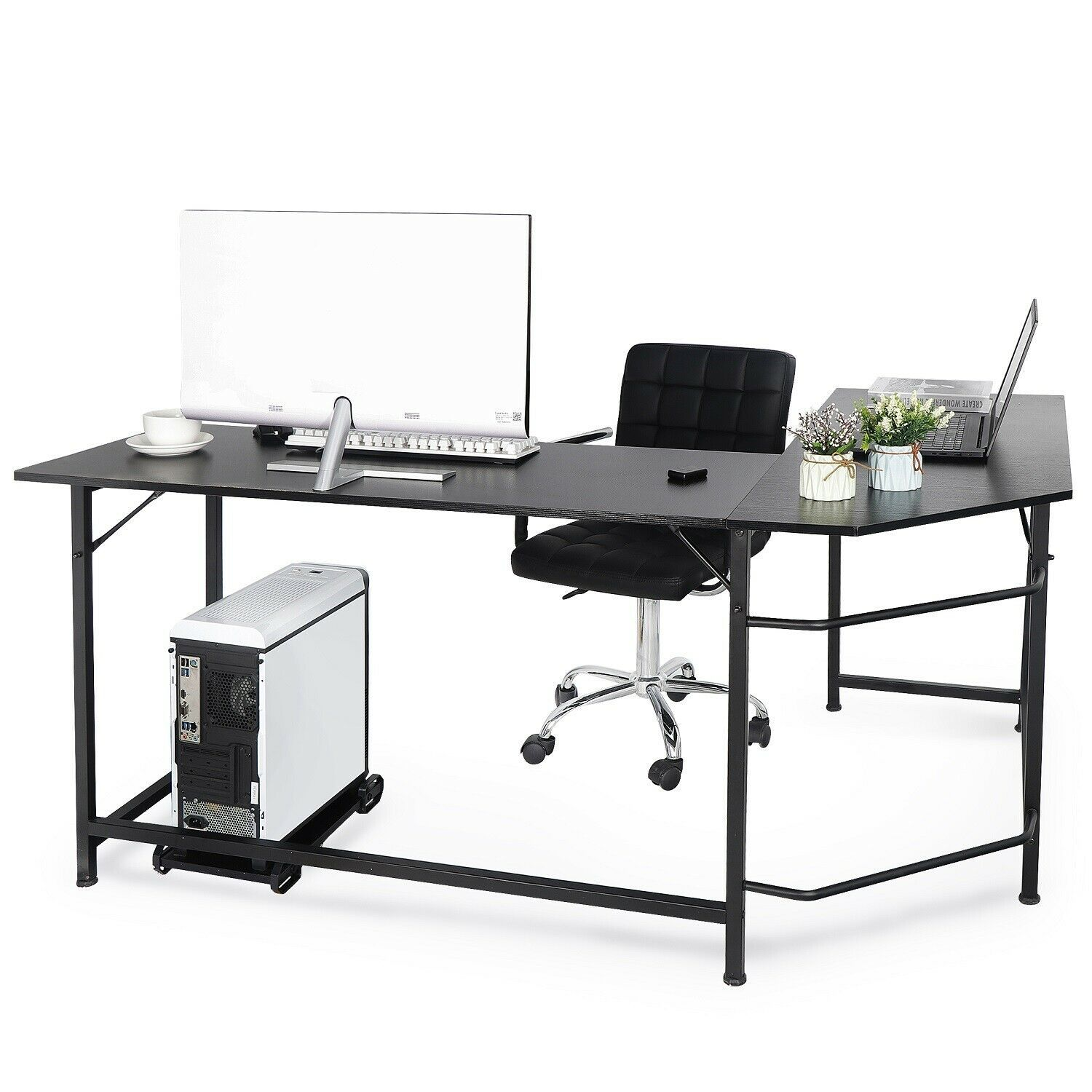 L-Shaped Desk Corner Computer Gaming Laptop Table Workstation Home Office Black