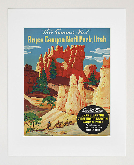 Bryce Canyon National Parks Art Travel Poster by