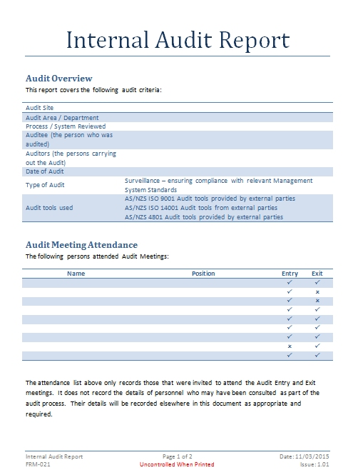 Internal Audit Report Template Iso 9001 (4) PROFESSIONAL