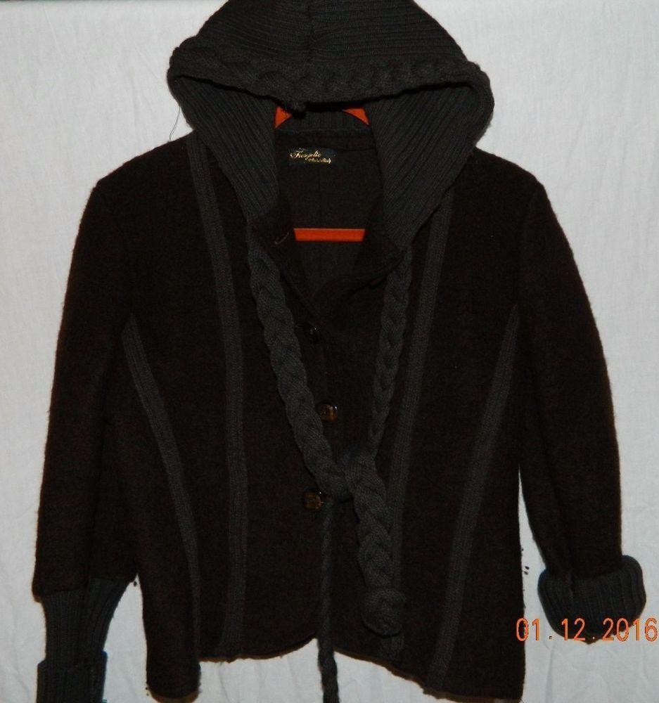 Trendy Tres Jolie Sweater Short Jacket Coat Hood Made in Italy chocolate brown M #TresJolie #Sweater