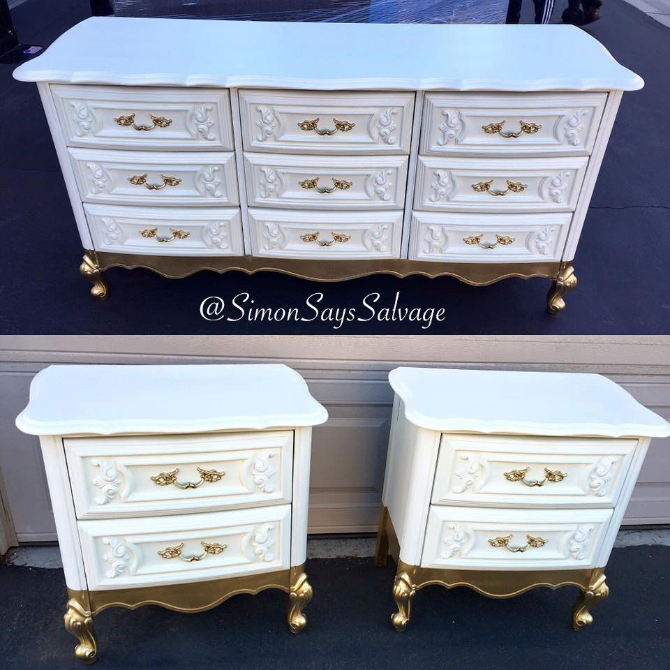 Sample white and gold french provincial bedroom set in - White and gold bedroom furniture set ...