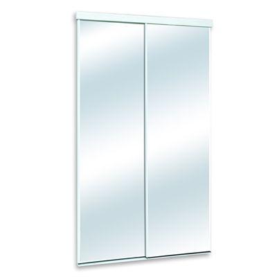 White Mirrorpanel Clear Sliding Closet Interior Door Common 48 In