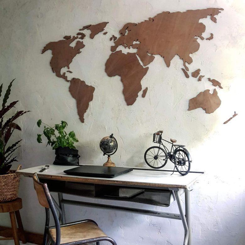 Photo of Tolle Weltkarte aus Mahagoni-Holz als moderne Wanddekoration