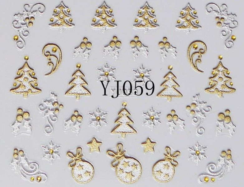 12 Designs Christmas Nail Art Stickers 3d Gold Silver Metalic