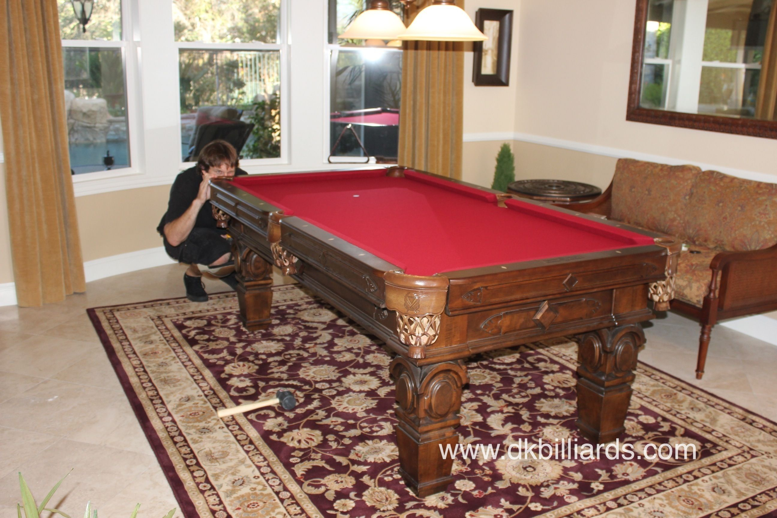 Pool Table On Area Rug With Images
