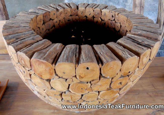 Teak Wood Vase Indonesia. Wooden pot or wooden vase made