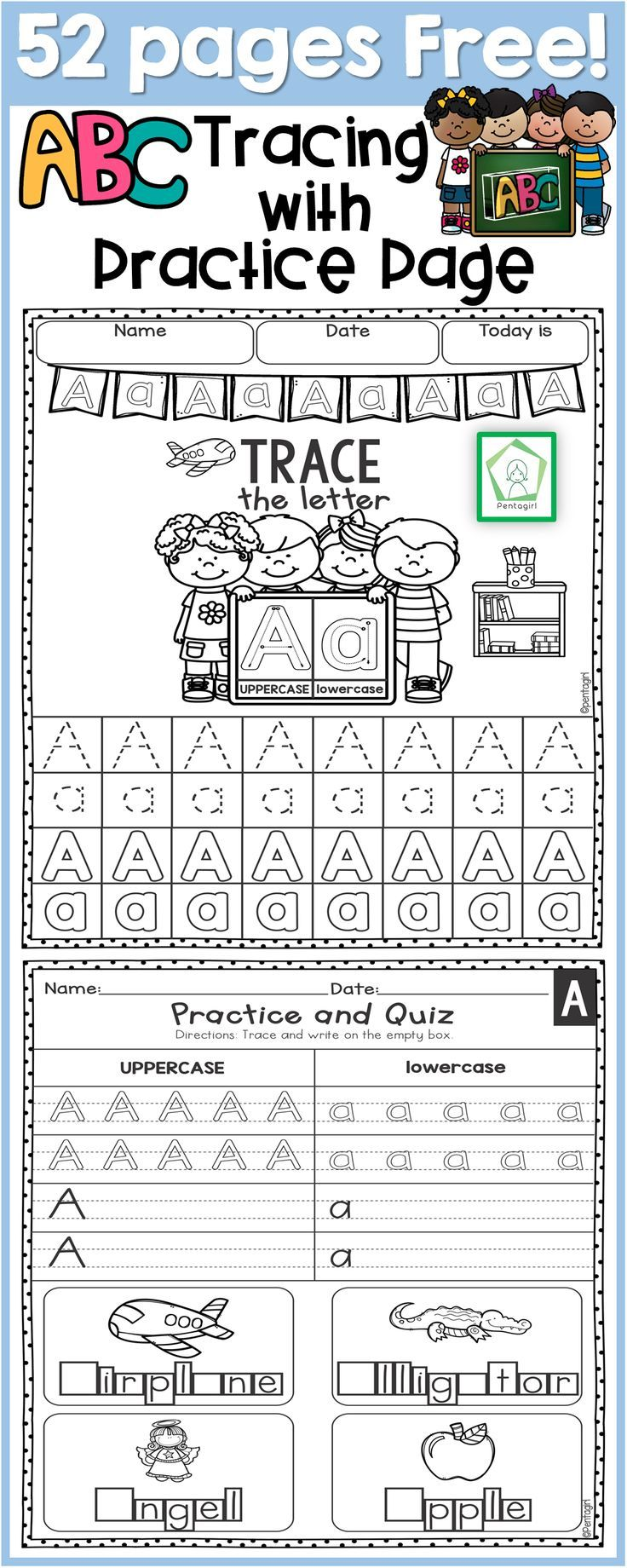 Free alphabet tracing, preschool, kindergarten, handwriting practice ...