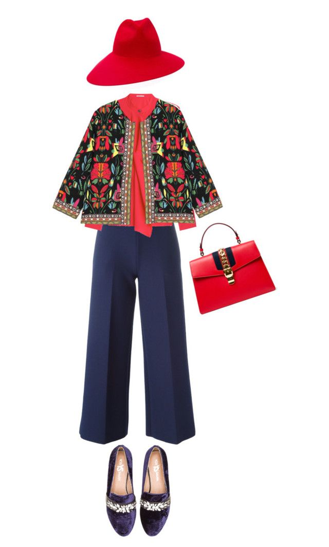 """kinda invisible lady -3"" by mercimasada ❤ liked on Polyvore featuring Yosi Samra, MSGM, Gucci, Agnona, fashionista, blazer, colorful, baroque and embellishedshoes"