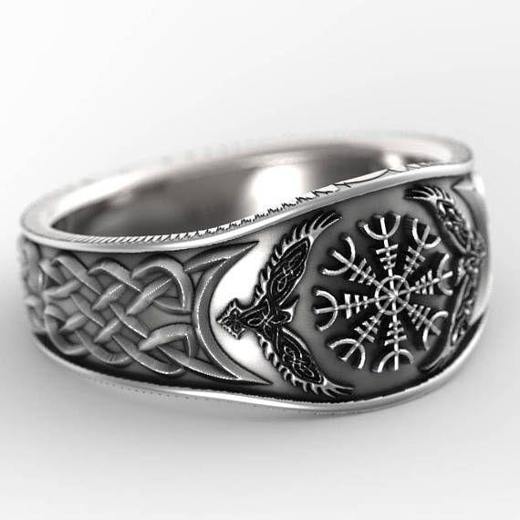 Viking Bands: Sterling Silver Oden's Ravens & Helm Of Awe Ring, Mens