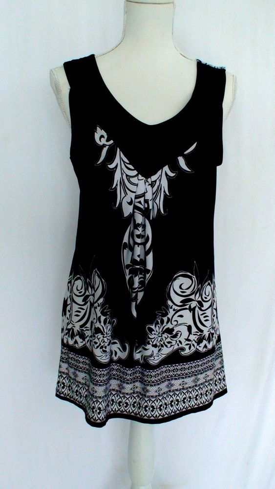 Notations Black And White Design Sleeveless Blouse Women S Size M