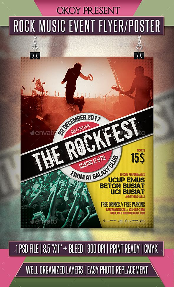 Rock Music Event Flyer \/ Poster Event flyers, Rock music and - event flyer templates