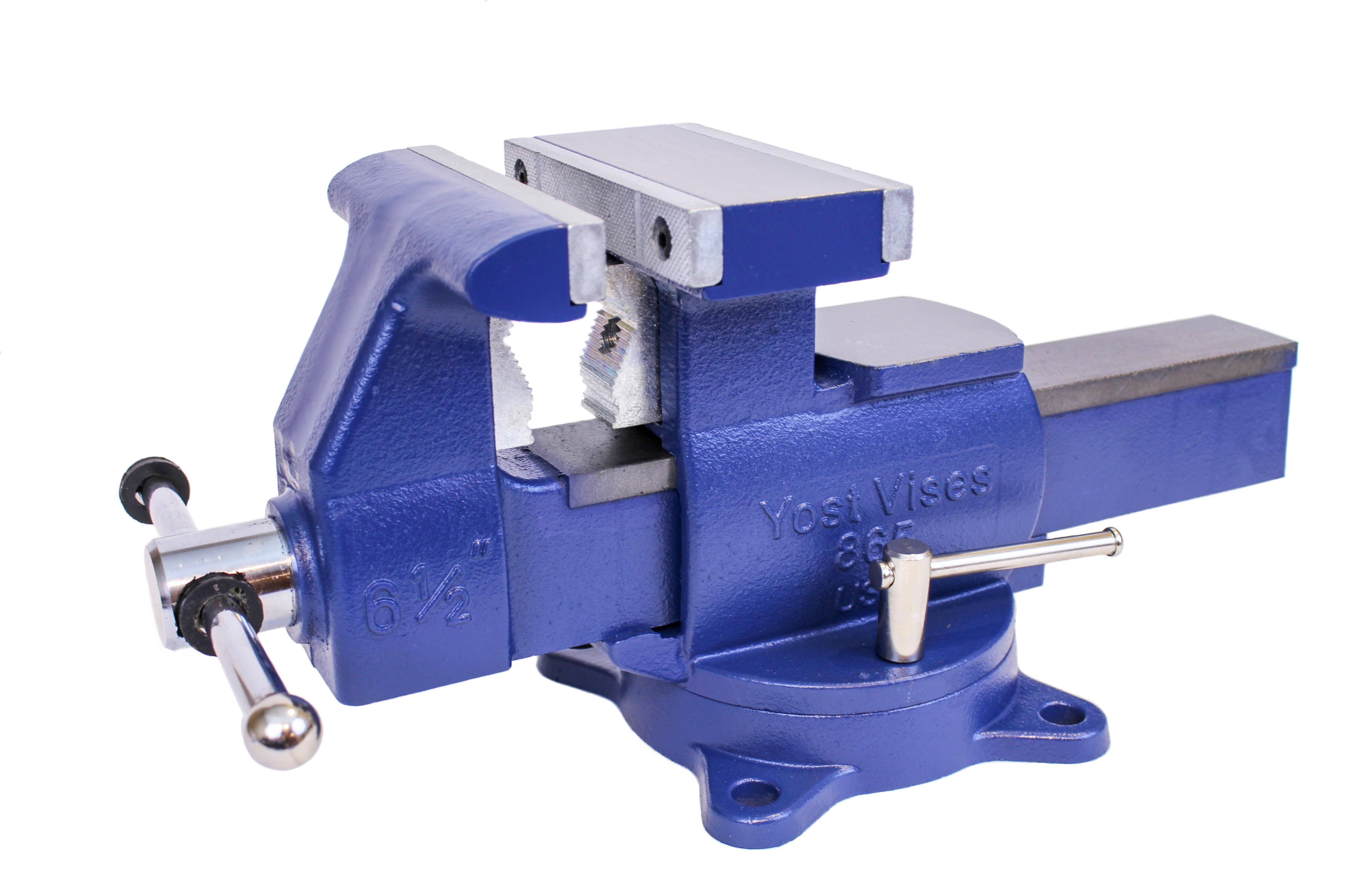 """yost vises 865-di 6.5"""" heavy duty reversible bench vise made"""