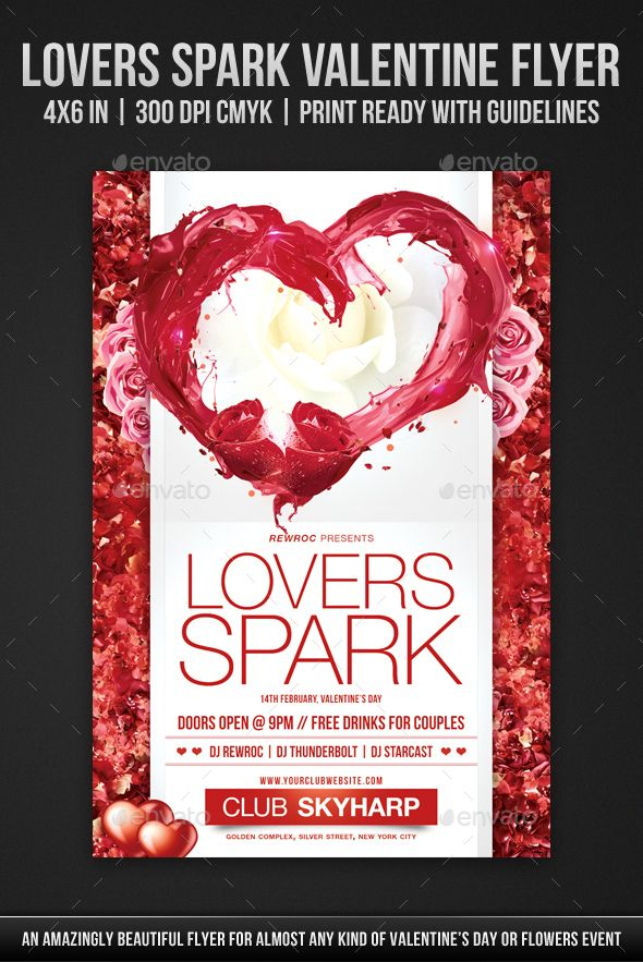 Lovers Spark Valentine Flyer Flyer Template And Template