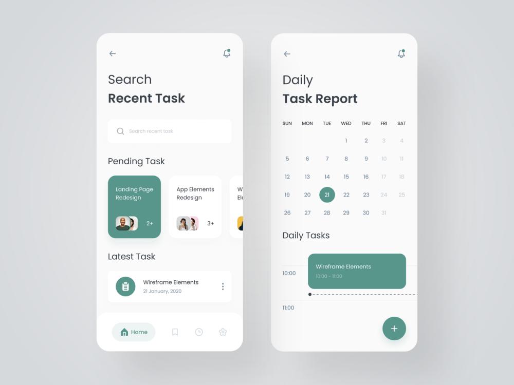 Task Management App Interface design, User interface