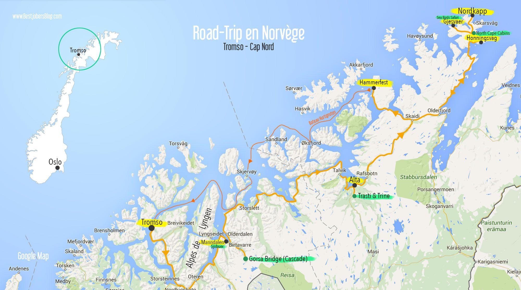 Carte Norvege Cap Nord.Itineraire Road Trip Norvege Carte Tromso Cap Nord Norvege