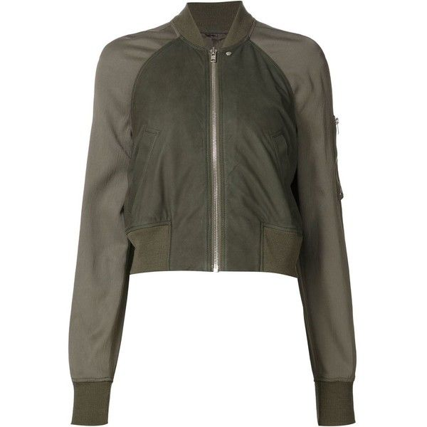 Rick Owens cropped bomber jacket (€860) ❤ liked on Polyvore featuring outerwear, jackets, green, zip bomber jacket, green cropped jacket, green bomber jacket, stand collar jacket and long sleeve jacket