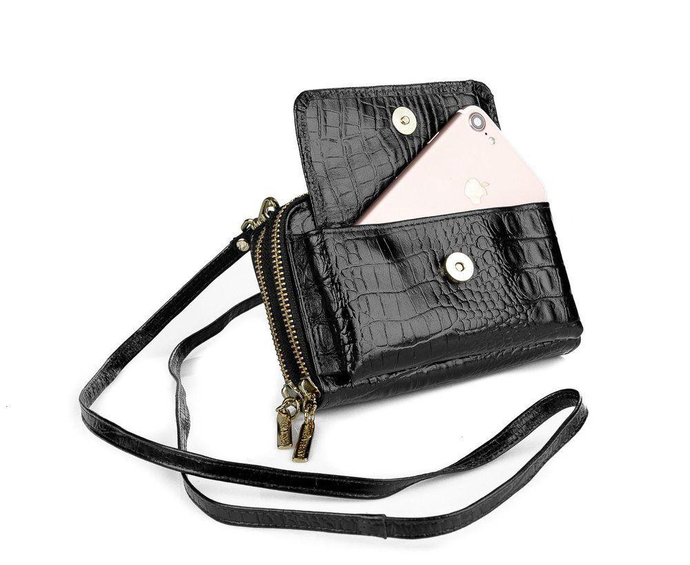 a9adaff90 Carteira feminina de couro com alça Mary preta - Enluaze Loja Virtual |  Bolsas, mochilas