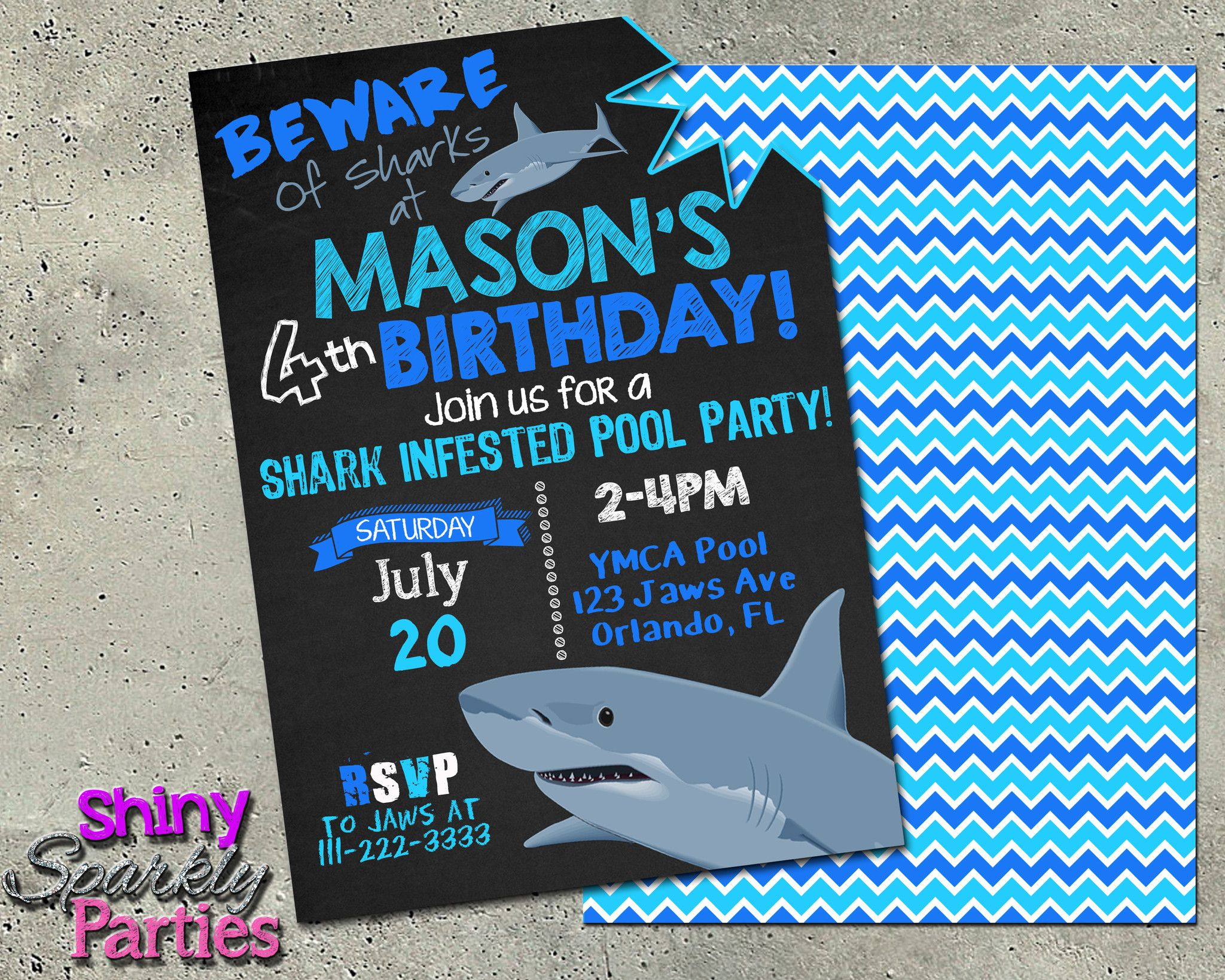 Printable Shark Pool Party Invitation Digital File Only
