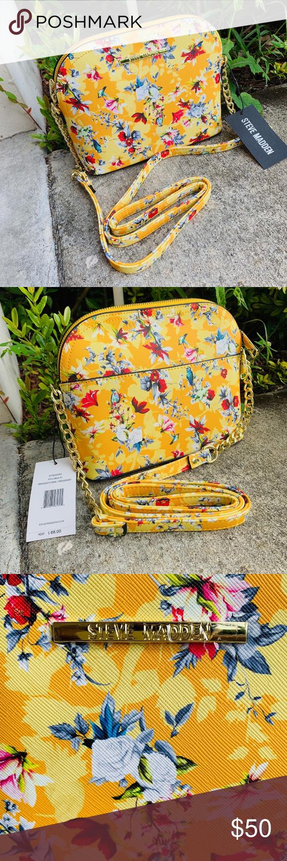 4613661791 NWT STEVE MADDEN FLORAL CROSSBODY MAGGIE BAG PURSE NWT STEVE MADDEN Black  Maggie Floral Crossbody💐