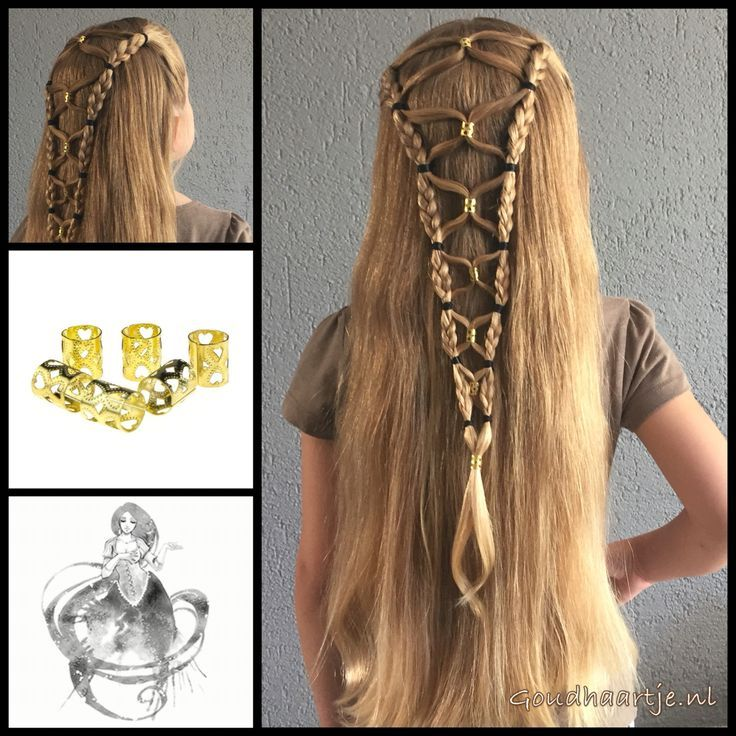 Halfup hairstyle with bead cuffs from the webshop http://www.goudhaartje.nl (worldwide…
