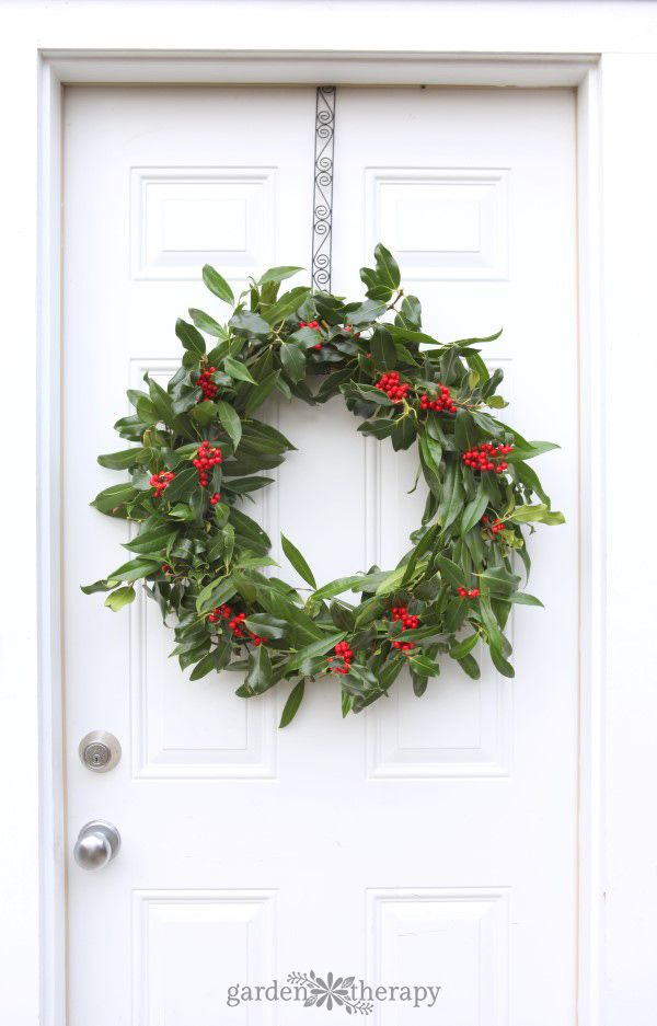 A Very Merry Fresh Holly Wreath For Christmas Christmas Wreaths Christmas Wreaths Diy Christmas Wreaths To Make