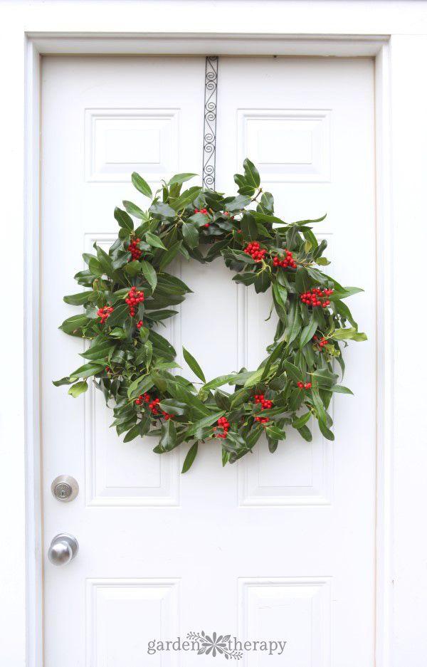 A Very Merry Fresh Holly Wreath For Christmas Christmas Wreaths
