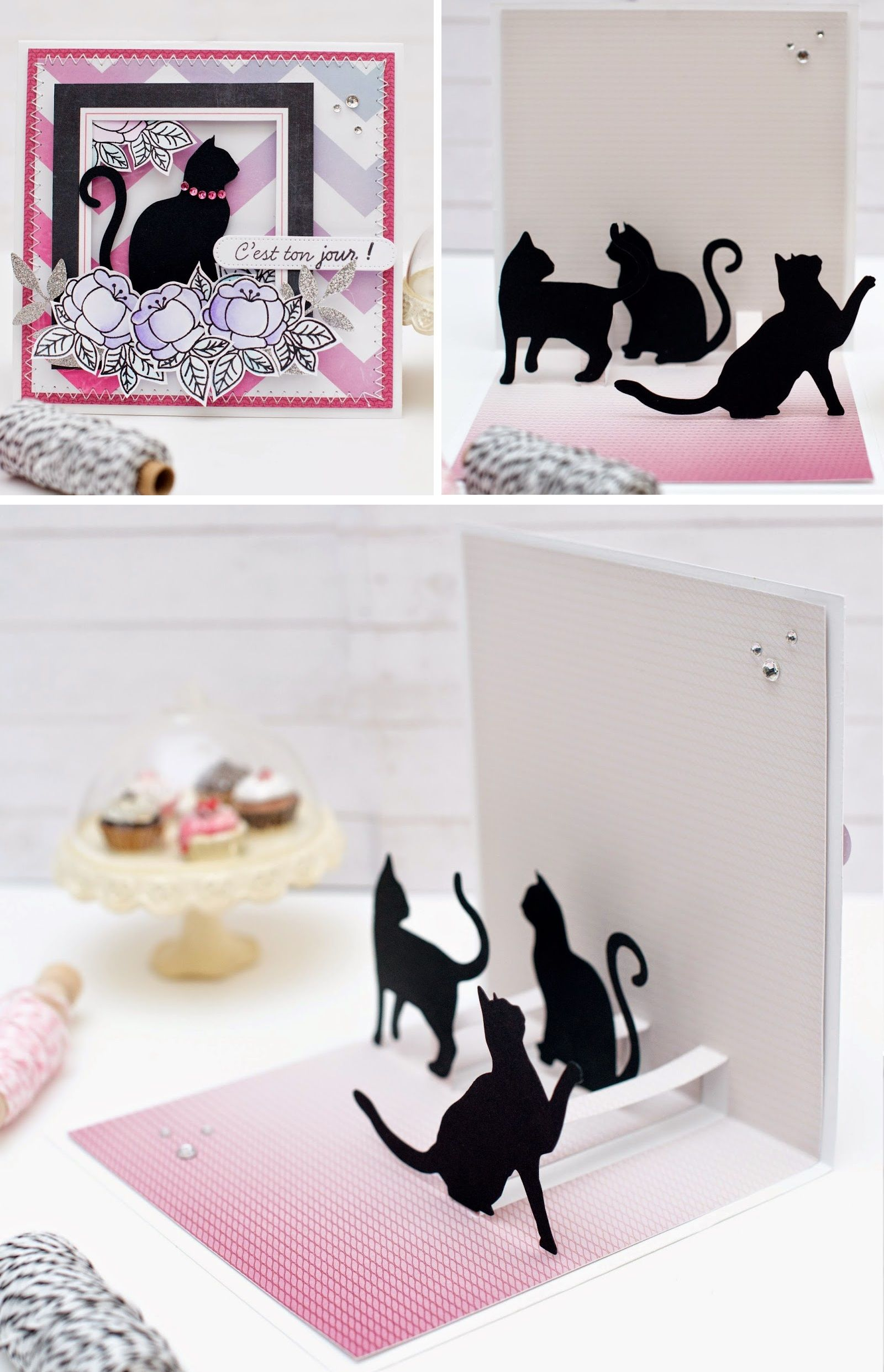 carte pop up chats explications cards papercrafts 2 pinterest cards kirigami and scrap. Black Bedroom Furniture Sets. Home Design Ideas