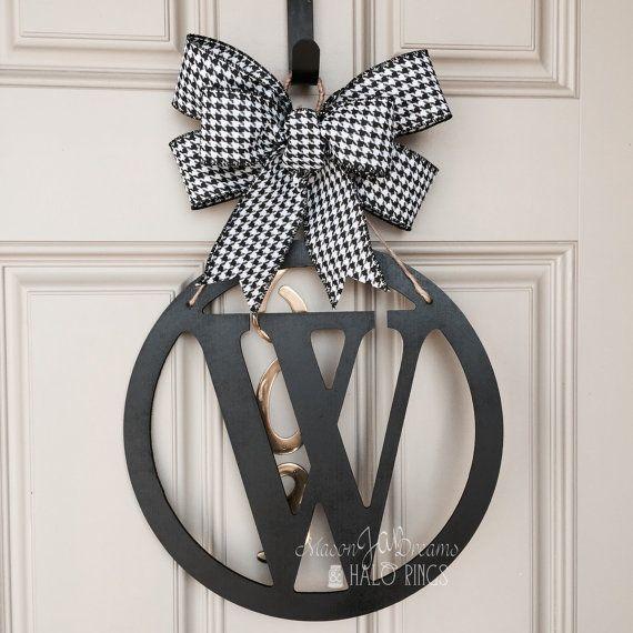 Merveilleux Monogram Door Hanger Initial Door Hanger By MasonJarsHaloRings $45