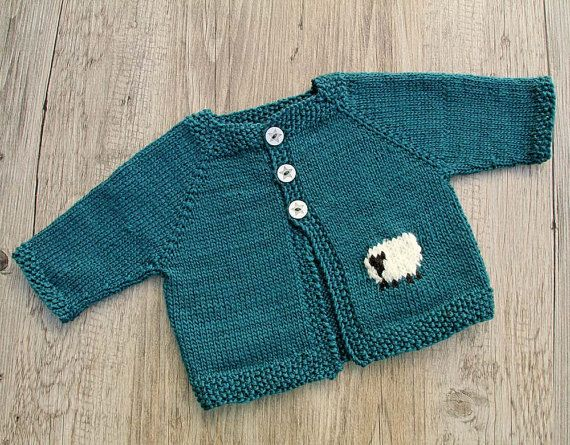 Blue Baby Cardigan Hand Knitted Jacket With Sheep Intarsia Merino Wool Sweater For