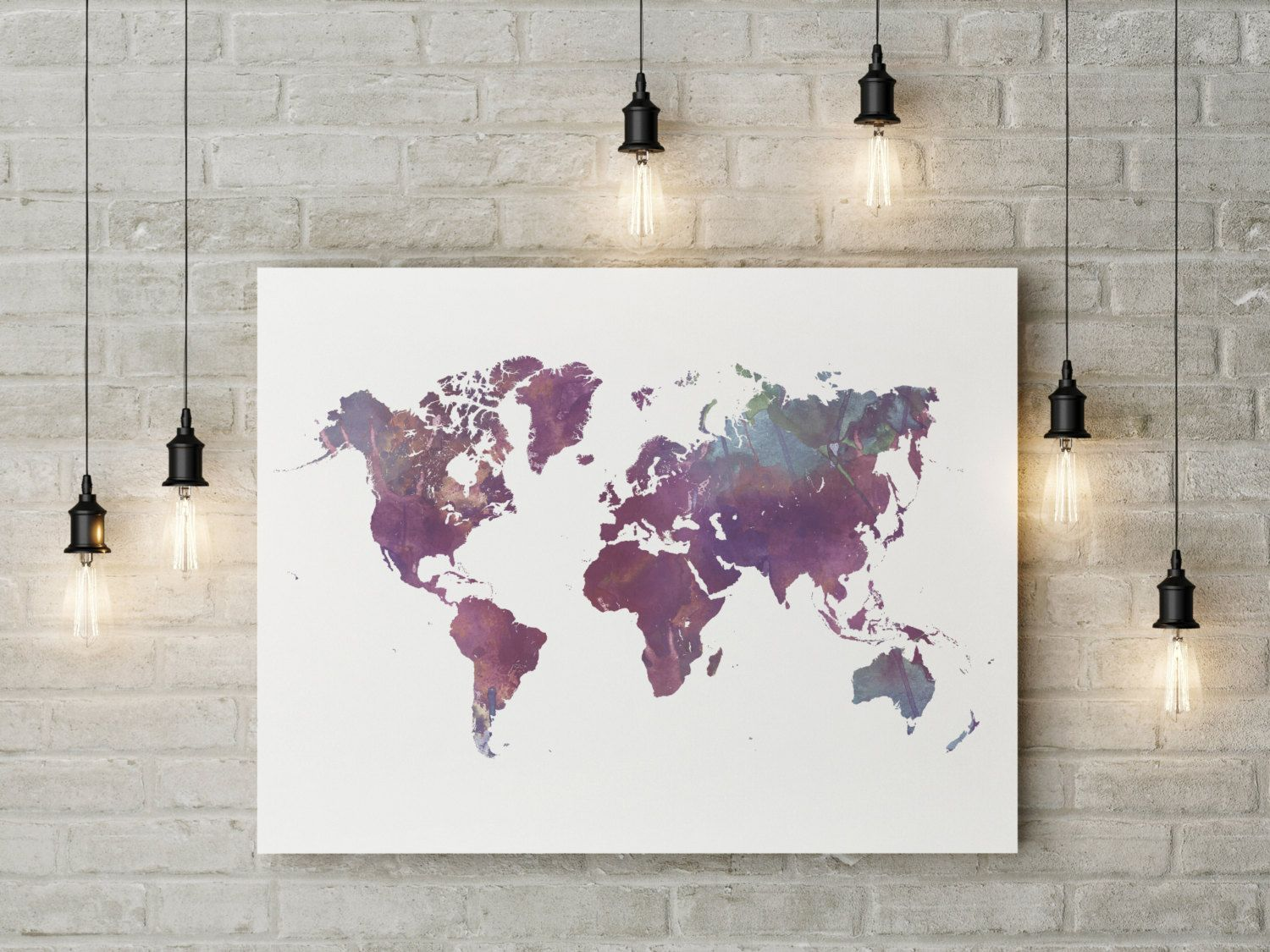 Watercolor world map printable geography cartography wall art watercolor world map printable geography cartography wall art printable watercolor world map purple sciox Gallery